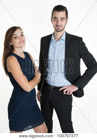 Young Smiling Business Woman And Business Man Isolated Over White Background.