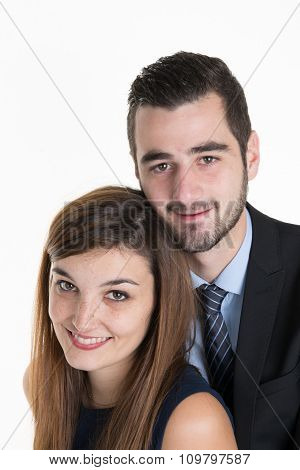 Thoughtful Couple Hugging And Looking Up - Isolated