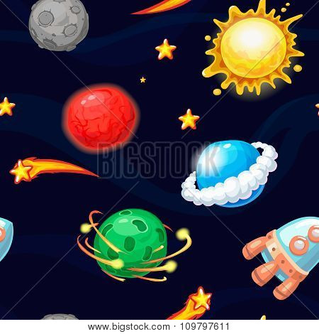 Seamless pattern with rocket and fantastic planets, vector space texture