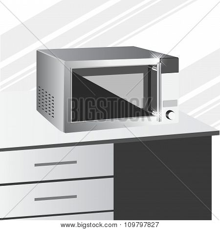 side view of microwave in a kitchen