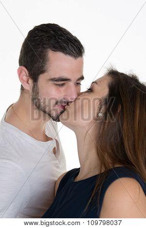 Portrait Of Happy Beautiful Couple Isolated On White - Portrait -