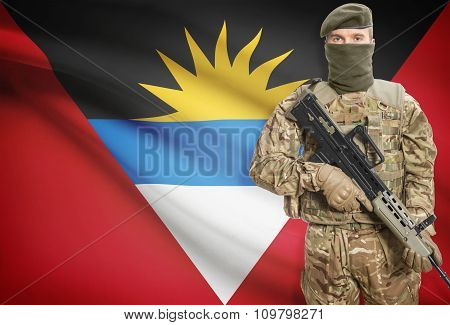 Soldier Holding Machine Gun With Flag On Background Series - Antigua And Barbuda
