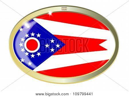 Ohio State Flag Oval Button