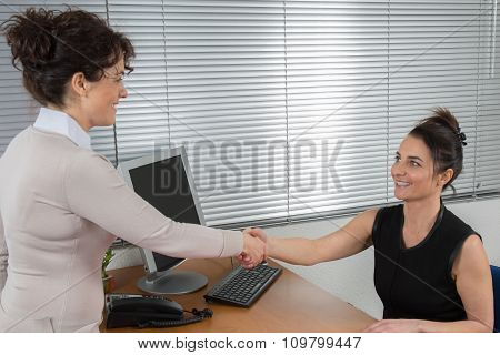 Two Businesswomen At A Desk Shaking Hands On Concluding A Deal Or Reaching An Agreement