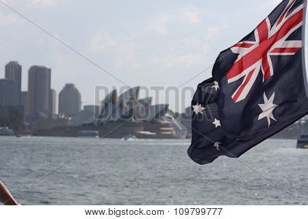 Australian flag with opera house