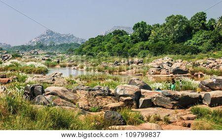 Tungabhadra River In Hampi, India.