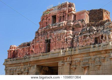 Detail of the temple of Bala Krishna at Hampi Karnataka India.