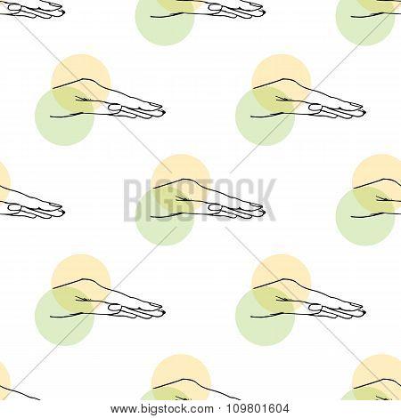 Illustration Hand And Circles. Seamless Pattern.