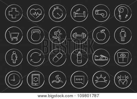 Fitness linear icons set. Chalkboard