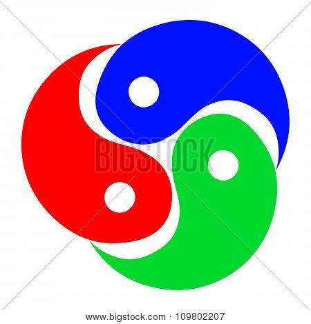Abstract Color Yin Yang Icon.
