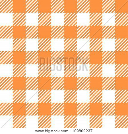 Tablecloth In Orange With Checkered Design