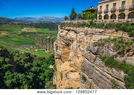 View Of Buildings Over Cliff In Ronda, Spain
