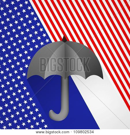 Black Umbrella On A Background Of The Usa Flag