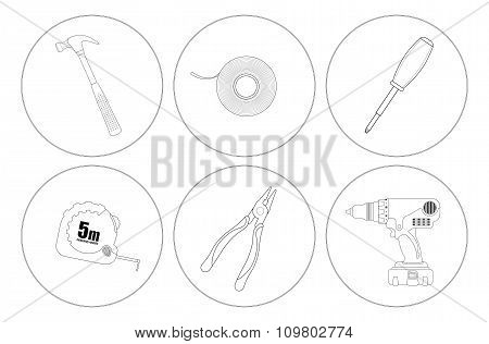 Repair tools line art icons set