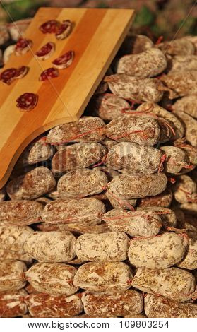 Many Salami And Sausages Called Cacciatorino For Sale