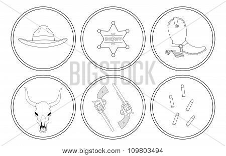 Wild west contour lines objects set