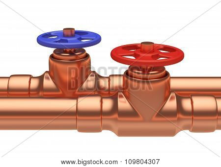 Blue And Red Valves On Copper Pipes Closeup