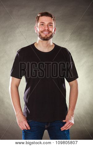 Happy Man In Blank Shirt With Empty Copy Space.