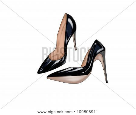 Hand drawn Illustration of a pair of black stiletto shoes
