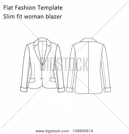 Flat Fashion template - Slim Fit Woman Blazer