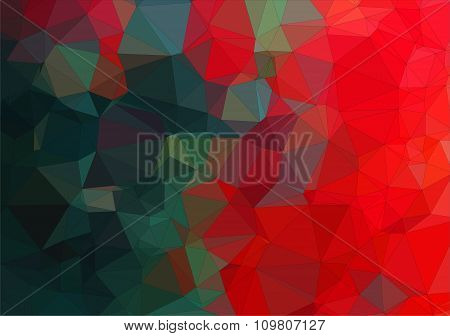 Composition with red and green geometric shapes