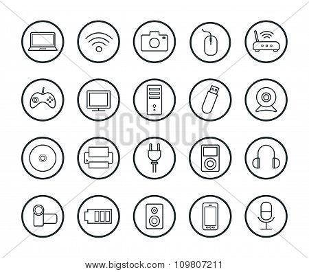 Digital technology linear icons set