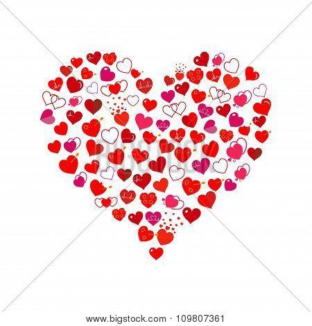 Big Heart Made Of Small Hearts. Flat Design