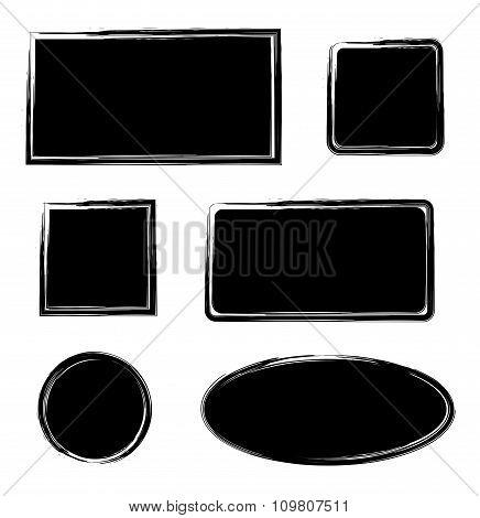 Black ink grunge texture frames