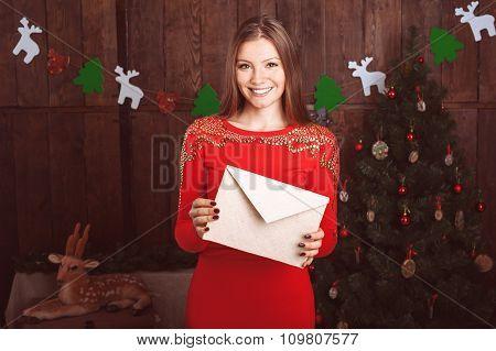 Beautiful Girl On Christmas Background