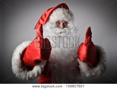 Santa Claus Is Showing Thumbs Up.