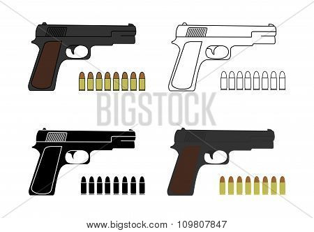9mm pistols set with bullets
