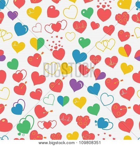 Seamless Pattern Of Multicolored Hearts. Flat Design