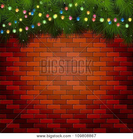 Christmas Lights With Spruce Branches On A Brick Wall