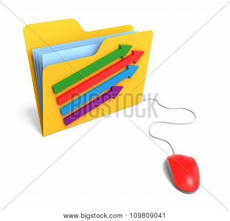 Folder With Arrow And Computer Mouse. 3D Rendering