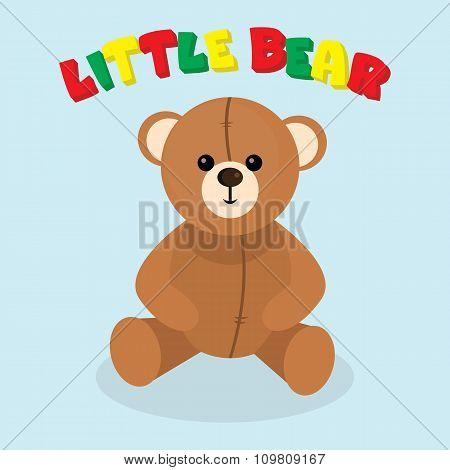 Vector little bear. Brown teddy.