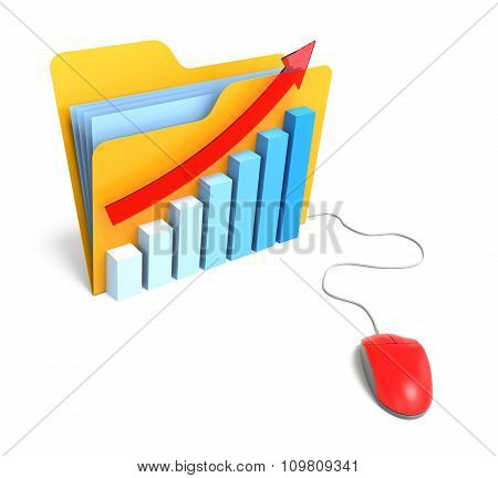 Folder With Barchart And Computer Mouse. Isolated White Background