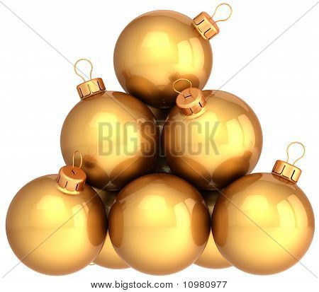 Luxury golden Christmas balls baubles