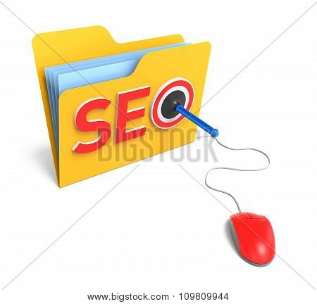 3D Word Seo With Folder And Rubber Dart. 3D Rendering