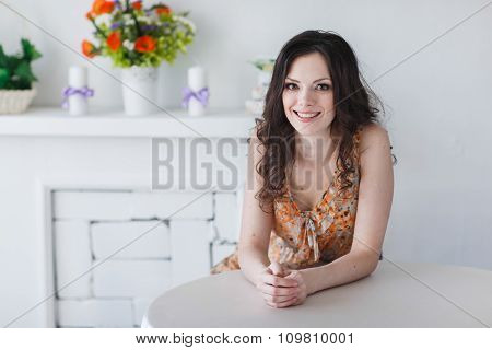 Beautiful Spring Girl In The Interior