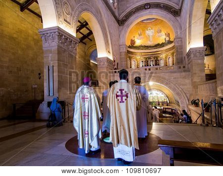 Mount Tabor, Israel, July 10, 2015: Inside The Church Of The Transfiguration On Mount Tabor