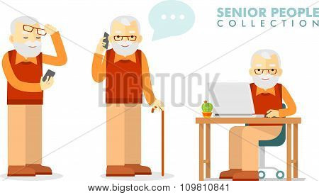 Social concept - old man using computer and mobile phone