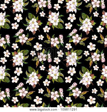 Seamless contrast floral backdrop with watercolour painted white apple or cherry flowers on dark bla