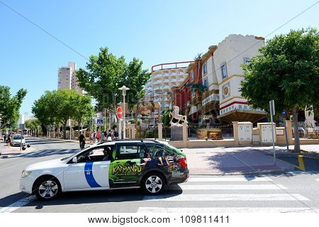 Mallorca, Spain - May 28: The Taxi Car And Tourists Enjoiying Their Vacation Near Katmandu Park On M