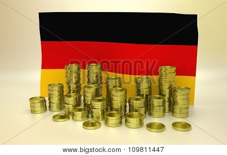 Golden coins and German flag