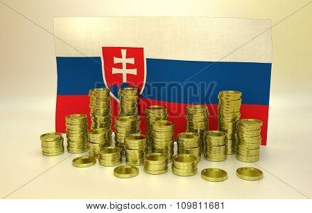 Golden coins and Slovak flag