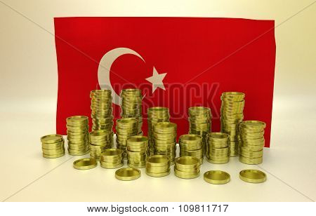 Golden coins and Turkish flag