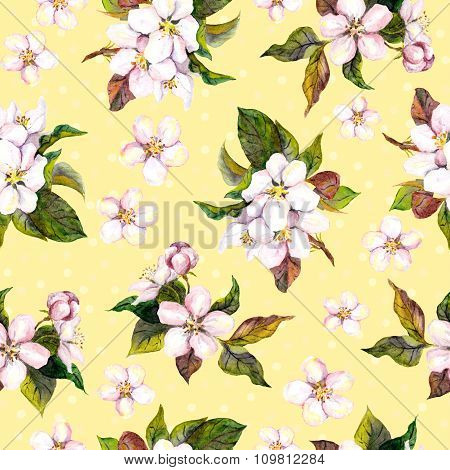 Seamless floral yellow backdrop with watercolour painted fruit flowers - apple, cherry, plum, aprico