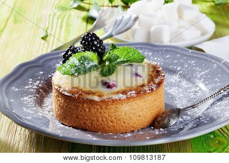 cake of semolina blackberries, winter, holiday and mint on a gray plate Provence still life dessert