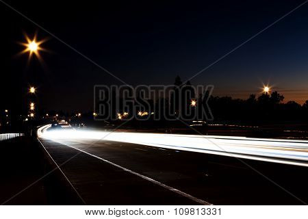 Night Light Trails From Cars On Road