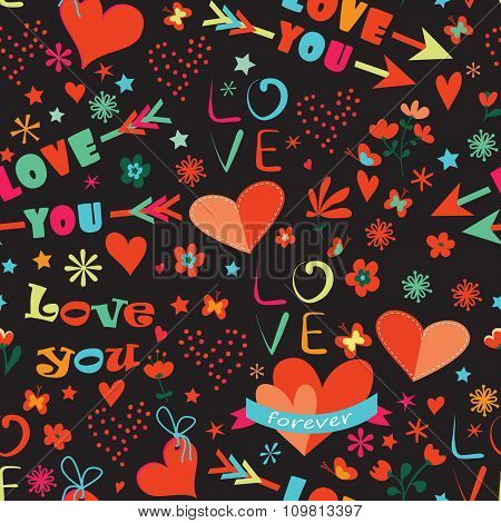 Valentines Day Floral Seamless Pattern.